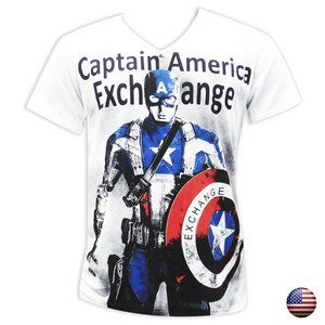 EXCHANGE MEN CAPITAN AMERICA WHITE V-NECK T-SHIRT